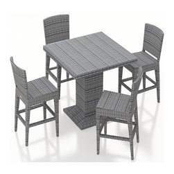 Harmonia Living - Urbana 5 Piece Weathered Stone Wicker Bar Set, No Cushions - The Harmonia Living Urbana 5 Piece Outdoor Bar Set (SKU HL-URBN-WS-5BCS-NC) with Resin Wicker will add style to any back yard, balcony, or outdoor space. The set's compact, minimalist design can fit your guests into small areas without compromising its contemporary look. The table and four stools are covered in a modern, High-Density Polyethylene (HDPE) wicker infused with a Weathered Stone color and UV protection, designed to last despite harsh outdoor elements. Each piece is framed with powder-coated, thick-gauged aluminum for strength and excellent corrosion resistance. The seats feature additional reinforcement to prevent the resin wicker from stretching over the life of the stools. Conveniently, underneath each piece are plastic guides to let you slide the seats or rearrange this patio dining set freely without worrying about damage to your patio or deck.