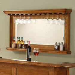 "ECI Furniture - Burnished Oak Wine Rack Bar Mirror - ""Burnished Oak Wine Rack Bar Mirror"