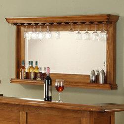 "ECI Furniture - Burnished Oak Wine Rack Bar Mirror - ""Burnished Oak Wine Rack Bar Mirror"