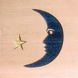 Door Mat:  Bamboo Sticks, Moon & Star - Cedar Wood Door Mat - Moon & Star