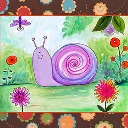 Oh How Cute Kids by Serena Bowman - Patchwork Snail, Ready To Hang Canvas Kid's Wall Decor, 16 X 20 - Each kid is unique in his/her own way, so why shouldn't their wall decor be as well! With our extensive selection of canvas wall art for kids, from princesses to spaceships, from cowboys to traveling girls, we'll help you find that perfect piece for your special one.  Or you can fill the entire room with our imaginative art; every canvas is part of a coordinated series, an easy way to provide a complete and unified look for any room.