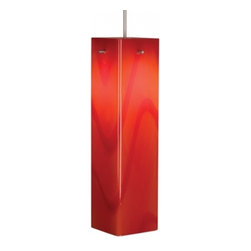 "Bruck Lighting - Houston Pendant Light w Red Glass (Bronze No Canopy) - Finish: Bronze No Canopy. Pictured in Matte Chrome. Glass Color: Red Glass. Mounting: No Canopy. 12V AC/DC Input. Accommodates 50W Max 12V Halogen GY6.35 Lamp (Not included). Suitable for dry location only. Dimmable . Overall Dimensions: 12"" H x 3.1"" DThe Houston collection is handcrafted by Murano glass masters featuring a contemporary square shape. The vivid colors offered include red, orange, vanilla and white. The uni-plug design allows the Houston pendant to be mounted on any of Bruck's track systems or ceiling canopy through the use of an appropriate adaptor. A Standard cable length of 59"" can be field-cut."