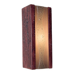 "A19 Lighting - Bubbly Modern Wall Sconce Plum Jam and Amethyst - Colorful, Fun And Effervescent, This Ceramic Wall Sconce Frames A Stream Of Bubbles Trapped Between Layers Of Recycled Window Glass. Light Shines From The Open Top And Bottom Of The Small And Compact Rectangular Base And Adds To The Illusion Of A Cascading Stream Of Light Overflowing With Bubbles.Height:10.75Width:4.25Depth:3.75Mounting Center:5.25Bulb Type:60 Watt Candelabra E12 BaseNumber Of Bulbs:1American-Made, Energy Efficient, Low-Voltage Mini Pendant.Made From Re-Claimed Window Glass.Open On Both Ends Washing The Wall With Both Up And Down LightResistant To Rust And Corrosion.Ada Compliant (Americans With Disabilities Act 4"" Regulation For Public Walks And Corridors)Due To The Handmade Nature Of A19 Products, It Is Not Unreasonable To Expect Slight Differences From Item To Item."