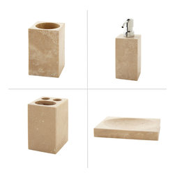 Travertine Bathroom Accessory Set - Crafted of gorgeous stone, the Travertine Bathroom Accessory Set boasts bold lines and neutral coloring, perfect for a modern or minimalist bath decor.