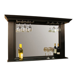 American Heritage - American Heritage Eldorado Back Bar/ Mirror in Antique Black - Back Bar/ Mirror in Antique Black belongs to Eldorado Collection by American Heritage This Eldorado back bar mirror is as beautiful as it is functional. This impressive heavily molded wood frame is finished in an antique black.  The beveled mirrors ledge style display shelve and hanging stemware rack makes this piece truly unique.  Mirror Crown (1), Mirror (1)
