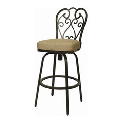 """Pastel Furniture - Pastel Furniture Magnolia Outdoor Barstool - The Magnolia 30"""" height outdoor swivel barstool with aluminum frames with cast aluminum back upholstered in Sunbrella Fabric. This beautifully designed outdoor barstool with its engaging mix of color and texture will take your outdoor living to a whole new place."""