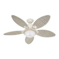 Hunter - Hunter Caribbean Breeze Ceiling Fan in Textured White - Hunter Caribbean Breeze Model HU-54094 in Textured White with Cream Wicker Finished Blades. Wicker Bowl Light Fixture to match your blades on your Caribbean Breeze Ceiling Fan.