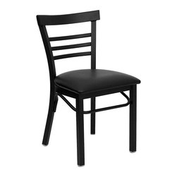Flash Furniture - Flash Furniture Hercules Series Ladder Back Metal Chair in Black - Flash Furniture - Dining Chairs - XUDG6Q6B1LADBLKVGG - Provide your customers with the ultimate dining experience by offering great food service and attractive furnishings. This heavy duty commercial metal chair is ideal for Restaurants Hotels Bars Lounges and in the Home. Whether you are setting up a new facility or in need of a upgrade this attractive chair will complement any environment. This metal chair is lightweight and will make it easy to move around. For added comfort this chair is comfortably padded in vinyl upholstery. This easy to clean chair will complement any environment to fill the void in your decor. [XU-DG6Q6B1LAD-BLKV-GG]