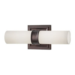 Vertical Bathroom Light with White Glass in Dark Plated Bronze Finish -