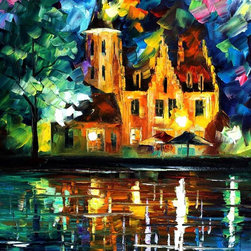Leonid Afremov - Reflections Of Brussels Oil Painting On Canvas By Leonid Afremov - Oil painting on canvas