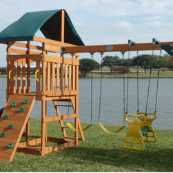 Swing Town - Phoenix Swing Set - Features: -Set includes (1) 8' slide, ladder, rock wall, 3x6 swing beam, 1 glider, 2 belt swings, picnic table and sandbox with seats on the corner. -Also including heavy-duty hardware. -Recommended age 3 - 12 years. -Assembly required.