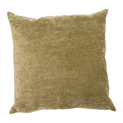 """Jaipur Rugs - Green color linen cotton luxe poly fill pillow 20""""x20"""" - The Luxe collection is affordable luxury in one small package. Luxe is offered in both a 20�x20� throw pillow and a lumbar size. Luxe is ultra-soft with a velvety texture and linen backing giving it an updated and sophisticated edge."""