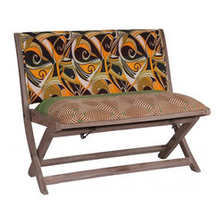 Modelli Creations - One Of A Kind Kantha Bench In Floral Print - This bench is made of shesham wood and folds for easy stow away. Upholstered with beautiful kantha fabric this bench will add interest and color to any space