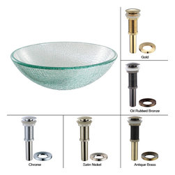 Kraus - Kraus Mosaic Glass Vessel Sink with PU-MR Oil Rubbed Bronze - *Fashionable bathroom sink is the perfect harmony of elegance and style