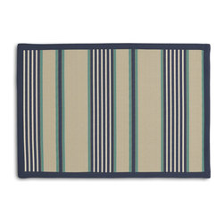 Gray, Blue & Teal Stripe Tailored Placemat Set - Class up your table's act with a set of Tailored Placemats finished with a contemporary contrast border. So pretty you'll want to leave them out well beyond dinner time! We love it in this classic blue, white & teal stripe against tan ground with just a nod to the nautical.