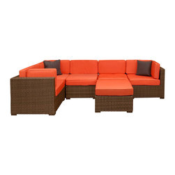 Amazonia - Bellagio 6 Pc Sectional Set with Orange Cushions - Set includes Ottoman, 2 Middle Chairs, and 3 Corner Chairs. Aluminum and Synthetic Wicker frame. Free feron gard vinyl preservative for longest strap durability. It works great against the effects of air pollution salt air, and mildew growth. For best protection, perform this maintenance every season or as often as desired. Cushions are included. Dark Brown Wicker. Orange Cushion. Great functionality. Water Repellent Polyester Cushions. Warranty: 1 year. Corner Chair: 32 in. W x 32 in. D x 27 in. H. Middle Chair: 28 in. W x 32 in. D x 27 in. H. Ottoman: 28 in. W x 28 in. D x 13 in. HGreat quality, stylish design patio sets, made of aluminum and synthetic wicker. Polyester cushion with water repellant treatment. Enjoy your patio with elegance all year round with the wonderful Atlantic outdoor collection.
