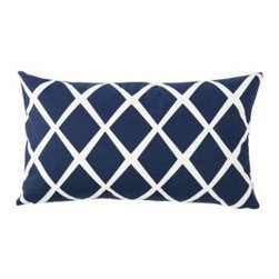 Serena & Lily - Diamond Lumbar Pillow Cover Navy - Such a simple design, yet so striking. On a backdrop of classic navy, the loosened-up lines in soft white take on the look of a block print. We love the idea of mixing several shades together to create the ultimate color story.