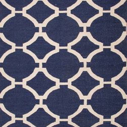 Jaipur Rugs - Flat Weave Geometric Pattern Blue Wool Handmade Rug - MR44, 9x12 - An array of simple flat weave designs in 100% wool - from simple modern geometrics to stripes and Ikats. Colors look modern and fresh and very contemporary.