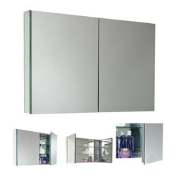 Fresca - Fresca Large Bathroom Medicine Cabinet w/Mirrors - This large sized medicine cabinet features mirrors everywhere. the edges of the medicine cabinet have mirrors and so does the back of the inside and the back of each of the doors. The inside features two tempered glass shelves.
