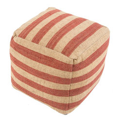 "Jaipur Rugs - Red/Ivory Handmade 100% Wool Pouf (16""x16""x16"") - The mason collection is a collection of natural fiber poufs, consisting of nautical inspired stripes, these poufs complete a rustic or coastal inspired retreat home."