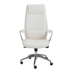 Crosby High Back Office Chair-Wht/Alum - You can't help but feel happy after glancing at this welcoming office chair. After all, the seams in the high backrest create the look of a friendly face, as it delivers cushioned comfort and support. Take a seat and introduce yourself.