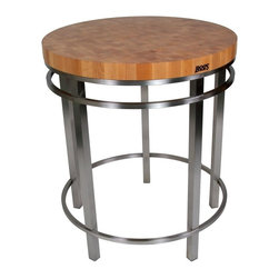 John Boos - Round Table in Varnique Finish - Smart elegance. Artistic appeal. Simplistic and contemporary. Professional work spaces. Fully welded construction. Thick hard maple end grain top. Stainless steel brushed base. Varnique finish