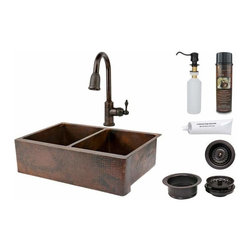 Premier Copper Products - Premier Copper Sink/Faucet Package ORB - KSP2_KA50DB33229 33 Inch Hammered Copper Kitchen Apron 50/50 Double Basin Sink with ORB Pull Down Faucet, Matching Drains, and Accessories