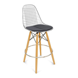 """Dowel 30"""" Barstool Wire Chair - The Case Study Wire Chair Swivel Bar Stool is an essential for the modern home. The bar stool rotates 360-degrees and is built to last a lifetime."""