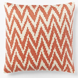 Chevron Crewel Pillow Cover, Bergamot - My husband and I are building a bench over the large radiator in the office, and I want lots of pillows for it. Pillows are a great way to introduce color to a room, and they're easy to swap in and out with the seasons or decorating whims. Right now, I just want to add lots of color.