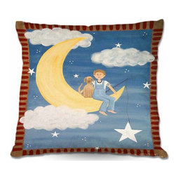 DiaNoche Designs - Pillow Linen - Fly Me To the Moon - Add a little texture and style to your decor with our Woven Linen throw pillows. The material has a smooth boxy weave and each pillow is machine loomed, then printed and sewn in the USA.  100% smooth poly with cushy supportive pillow insert with a hidden zip closure. Dye Sublimation printing adheres the ink to the material for long life and durability. Double Sided Print, machine wash upon arrival for maximum softness. Product may vary slightly from image.