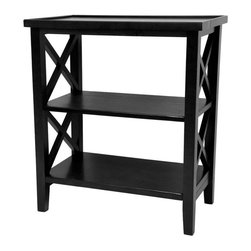 "Oriental Furniture - 26"" Architectural Book Case Table - Black - A solidly constructed shelving unit with criss-cross framework side panels. Table top surface has a slight lip around the edge while lower shelves are flat. Perfect height for an end table, nightstand or telephone table."
