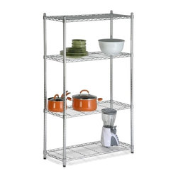 """4-Tier Chrome Shelving Unit - 200 Lbs - Honey-Can-Do SHF-01456 NSF Urban Shelving 4-Tier Adjustable Storage Shelving Unit, Chrome. Create visible, accessible storage space instantly with Honey-Can-Do industrial shelving systems. Contemporary chrome finish and 59"""" steel frame make this unit the perfect blend of style and functionality. Durable enough for the mudroom, garage, or commercial kitchen; this NSF-rated shelving for food equipment areas including refrigerators, freezers, and warewashing areas is capable of withstanding up to 200lbs per shelf. Adjustable shelves allow you to change the configuration as your storage needs evolve. Combine multiple units to create a customized storage wall. The no-tool assembly allows you to construct in minutes a shelving unit that will last for years."""