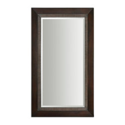 """Uttermost - Uttermost Julius Oversized Dark Bronze Mirror 14245 - This stately mirror features a solid wood construction frame finished in lightly distressed, dark bronze accented with a dark gray glaze. Mirror has a generous 1 1/4"""" bevel. May be hung horizontal or vertical."""