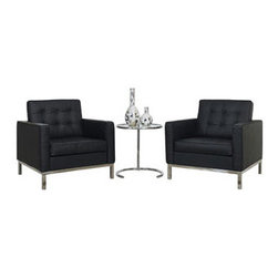 "LexMod - Florence Style Loft 3 Piece Sofa Set in Black - Loft 3 Piece Sofa Set in Black - A style so classic you will recognize it instantly, this beautiful set will fill your living room with joy. Each piece is crafted for optimum comfort and fashion. Furnish your space with the best of modern classics. Set Includes: One - Eileen Gray Side Table Two - Loft Leather Armchairs Table: Chrome Frame, Tempered Glass, Adjustable Height, Chairs: Genuine Leather Seating Surfaces, Tufted Seat and Back, Metal Frame and Legs Overall Chair Dimensions: 30""L x 31""W x 31.5""H Armrest Height: 23""H Seat Dimensions: 20""L x 23""W x 17""HBACKrest Height: 17""H Overall Table Dimensions: 24""L x 21.5""W x 21.5""H Table Top Height: 21.5 - 28.5""H Overall Product Dimensions: 30""L x 83.5""W x 31.5""H - Mid Century Modern Furniture."