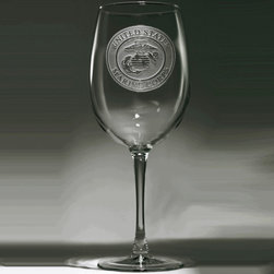 """Crystal Imagery, Inc. - Marines Wine Glass Set, Engraved Stemware - Our engraved Marines wine glass is the perfect gift for a Marines officer's promotion or retirement. Deeply carved using our sand carving technique, each Marine Corps wine glass is custom made to order. At 9"""" high by 3.5"""" wide, our wine glasses hold 19 oz. A set of these etched wine glasses will be the favorite gift at any special occasion for retiring military or even newly enlisted military personnel. SOLD AS A SET OF 4 WINE GLASSES."""