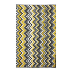 Mohawk Home - Mohawk New Wave Ziggidy Yellow Transitional Chyevron 8' x 10' Rug (11681) - Bold zigzags are like graphic art for your floor!  With different width stripes and bold colors this rug will shine as the spotlight of your decor.  Printed on the same machines that manufacture one of the world
