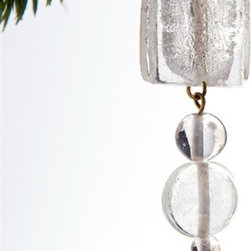 "Sitara Collections - Handmade Clear Glass and Brass Holiday Ornament - Geometric Shapes in Seasomal Green or Icy Clear Lend a touch of Traditiom to a Thoroughly Modern ornament. a Large Square and Circle are Separated by Smaller Beads, Creating an almost Gem-Like Quality That instantly adds Panache to Your Decor. solid Yet Subtle, this ornament Will Be a Favorite for Years to Come. Measures 5.25"" L X 1"" W X .375"" D."