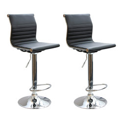 Buffalo Tools - AmeriHome 2 Piece Padded Bar Stool Set - 2 Piece Padded Bar Stool Set by AmeriHome The AmeriHome 2 Piece Adjustable Height Contemporary Bar Stool Set brings a touch of the casual contemporary to complete any room.  The padded vinyl seat and back is ideal for kitchen spaces as well as bars, game rooms, and basements.  The sleek polished chrome base with built-in foot rest is unobtrusive and allows for comfortable leg room.  The padded seat is designed for comfort with a 15 inch wide by 15.5 inch deep seat that swivels 360 degrees and has an adjustable height of 24 to 32 inches.  All these features create a great bar stool for all ages. 15 in. W x 15.5 in D padded black vinyl, 360 degree swivel seat Adjustable Seat Height: 24 in. to 32 in.  Maximum seat back height: 44.5 in.  Weight capacity: 265 lbs. Set includes 2 bar stools with padded backs and seats