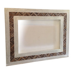 Nine O Nine Home - Chevron White Mirror - A rustic combination of colors and  smooth oak and antique wood with a chevron pattern in the center. This is a hand made piece and one of a kind piece