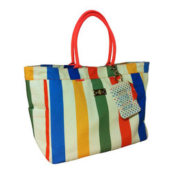 Frontgate - Summer Stripe Tote Bag - Frontgate - Unique artisan design. Wide, open top with a snap closure for easy access. Thick, cotton handles. Easy-clean interior free of a liner. ID keychain attaches to handle. Our cheerful Summer Stripe Tote Bag will carry you from the beach to the market in style. The rugged, high-quality cotton canvas is printed with bold stripes and amply sized, with a large main compartment. Quickly stash sunglasses or a water bottle in the two spacious exterior side pockets, and tuck away keys and other small valuables in the interior zipped pocket.  .  . .  .  . Metal feet protect bottom of bag. Imported.