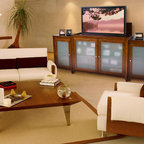 """Brookside TV Lift Cabinet With Side Cabinets For Flat Screen TV's Up To 55"""" - The Brookside TV lift cabinet was one of the first models offered by Touchstone, and it has shown staying power by continuing to be one of our most popular units. If you're looking for a true showpiece to complete your entertainment tableau, the Brookside fits the bill. Its art-caliber design with solid lines and striking good-looks will serve as the focal point for your family or living room."""