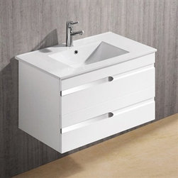 """Vigo Industries - Vigo 32"""" Ethereal-Petit Single Bathroom Vanity - White Gloss - Features: Vigo Ethereal-Petit is a wall mounted white gloss contemporary style vanity This art nouveau inspired vanity features two stylish drawers with soft closing hardware Features artistic chrome pull accents This convenient sized vanity is a stunning addition to any bathroom Cabinet is made from a solid engineered wood with white gloss finish, which consists of an anti-scratch paint surface for enhanced durability and frequent use Vanity is fabricated for wall mount installation with all mounting hardware included Contains one white, top-mount ceramic sink with a single hole for a faucetCabinet is shipped assembled Solid brass, chrome-plated drain assembly included 5 Year Limited Warranty Cabinet measures (Including sink): H - 20 3/8"""" W - 32 1/8"""" D - 18 1/2"""" How to handle your counter View Spec Sheet"""