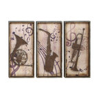 Woodland Imports - Music Instruments Set of 3 Wood Wall Plaque Rustic Brown Finish Art Decor 69253 - Antique style music instruments set of 3 wood wall plaque with a rustic brown finish family and dining room art decor