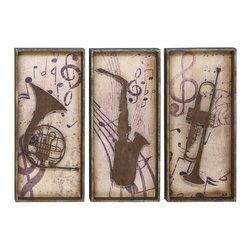 Woodland Imports - Music Instruments Set of 3 Wood Wall Plaque Rustic Brown Finish Art Decor 69253 - Antique style music instruments set of 3 wood wall plaque with a rustic brown finish family and dining room art decor