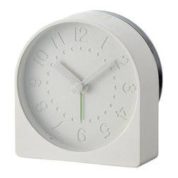 "IDEA International - Bell Alarm Clock - Light Grey - ""Bell""is a new format for the morning alarm clock that moves the bell component to the back, and uses it as part of it's body. This not only saves on components and simplifies the appearance, but also allows for a much louder ring. Louder than a mobile phone, a desk clock or a watch. As loud as a fire bell or a bicycle bell. This loudness is reflected in the choice of colours: Fire bell Red or Bicycle bell Chrome."