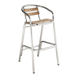Perch Bar Stool - Define your homestead with this charming Bar Stool full of vibrancy. Sip sweet solace as you sit admirably amidst your outdoor pub area. Complete with willow screen slats and a matte aluminum finish, let Perch's vantage point take you to a protected place of prosper.