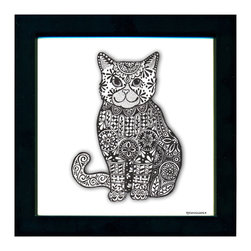 Framed Cat Pen & Ink, 8 Inch Frame - Our Cat Pen & Ink by artist Pamela Corwin.  The detailed hand drawn patterns create intricate graphic designs in black and white . Framed in a classic black frame and available in two sizes, these handsome prints will fit in any room . They look great in sets of two or three.