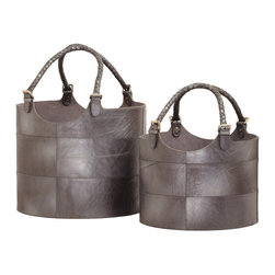 Lazy Susan Leather Buckets, Gunmetal - I love these silver leather buckets for out-of-the-ordinary, beautiful storage. They come in two sizes, so you can choose what's right for keeping your creature comforts nearby. And the silver leather is such an unusual touch.