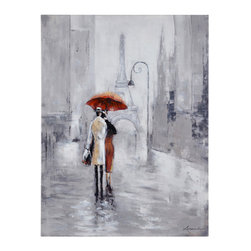 Ren-Wil - Ren-Wil Broadway I Wall Art - A classic Parisian scene this mostly monotone image is brought to life with a splash of Aurora Red. Printed on canvas with hand-painted accents.