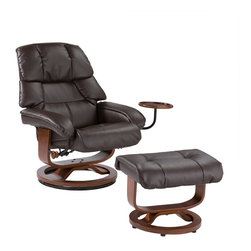 Holly & Martin - Holly & Martin Canyon Lake Leather Recliner and Ottoman - Become familiar with the concept of luxury as this recliner and ottoman set is all about rich, traditional elegance and modern superiority. This reclining chair and matching ottoman merges the ease of reclining with the comfort of luxurious bonded leather for a perfect end-of-day reward. As a bonus, this set comes with a smooth sliding side table that offers a handy spot for holding a beverage or storing a remote. So go ahead and put your feet up with this ergonomically designed recliner and ottoman set; you'll want one for every room.